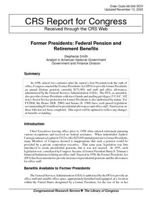 Former Presidents: Federal Pension and Retirement Benefits
