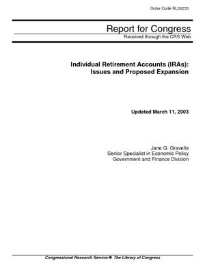 Individual Retirement Accounts (IRAs): Issues and Proposed Expansion