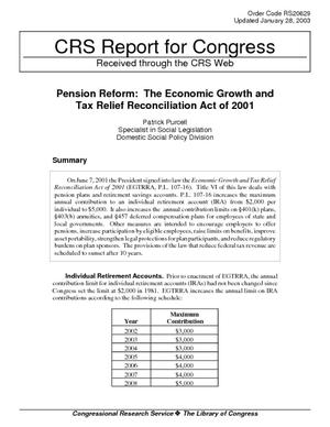 Pension Reform: The Economic Growth and Tax Relief Reconciliation Act of 2001