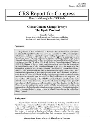Global Climate Change Treaty: The Kyoto Protocol