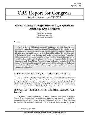 Global Climate Change: Selected Legal Questions About the Kyoto Protocol