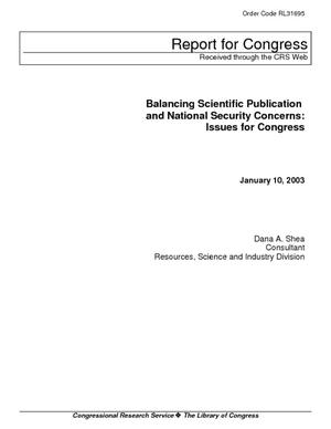 Balancing Scientific Publication and National Security Concerns: Issues for Congress