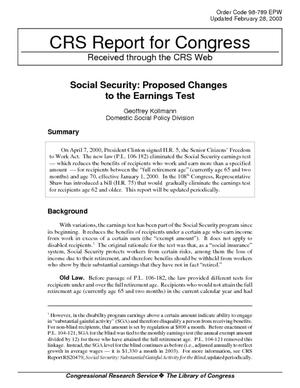 Social Security: Proposed Changes to the Earnings Test