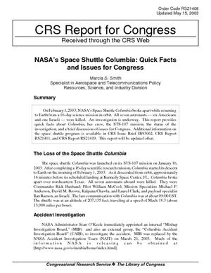 NASA's Space Shuttle Columbia: Quick Facts and Issues for Congress