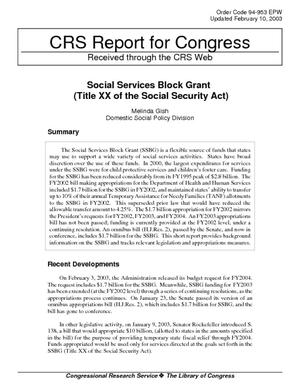 Social Services Block Grant (Title XX of the Social Security Act)