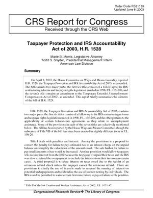 Taxpayer Protection and IRS Accountability Act of 2003, H.R. 1528