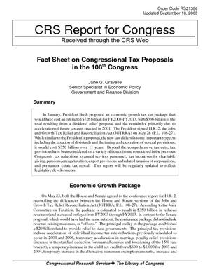 Fact Sheet on Congressional Tax Proposals in the 108th Congress