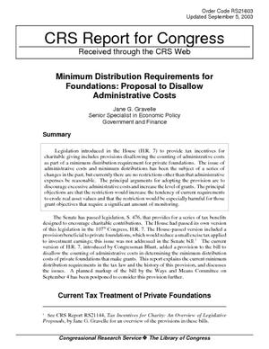 Minimum Distribution Requirements for Foundations: Proposal to Disallow Administrative Costs