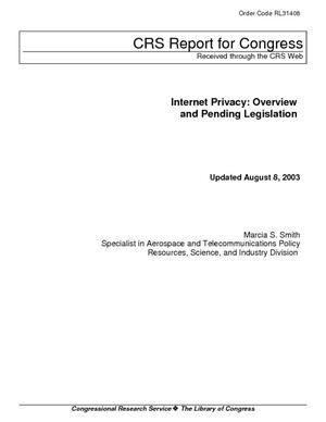 Internet Privacy: Overview and Pending Legislation