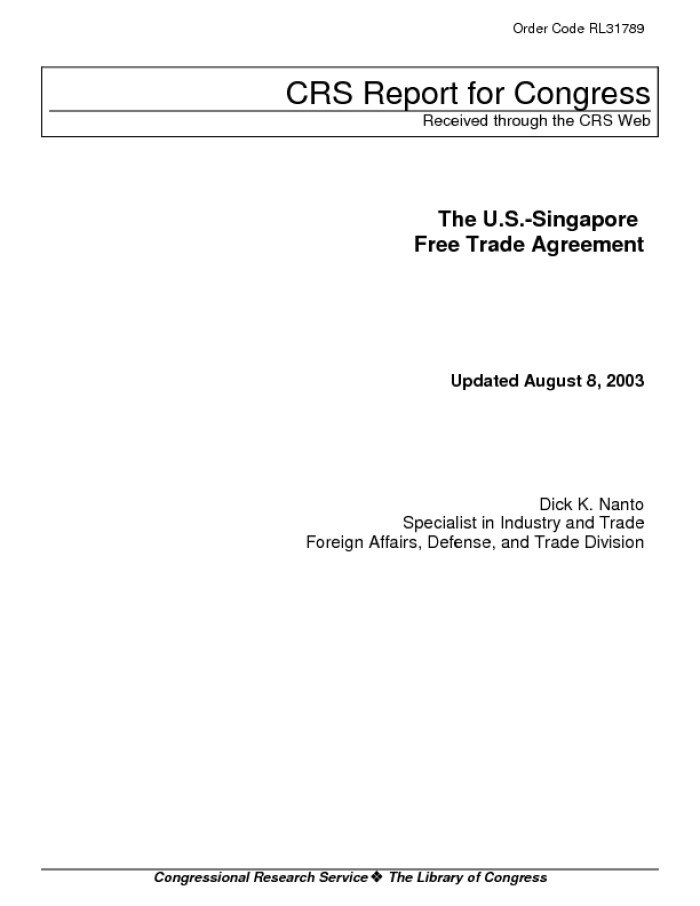 The Us Singapore Free Trade Agreement Digital Library