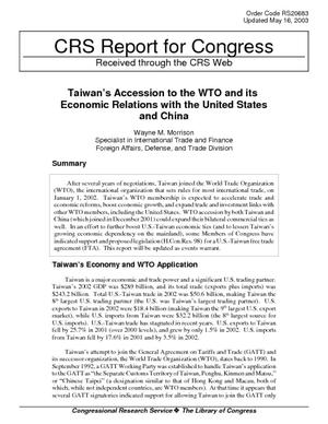 Taiwan's Accession to the WTO and its Economic Relations with the United States and China
