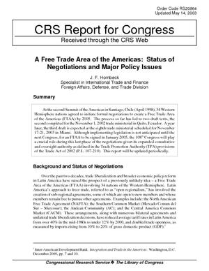 A Free Trade Area of the Americas: Status of Negotiations and Major Policy Issues