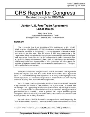Jordan-U.S. Free Trade Agreement: Labor Issues