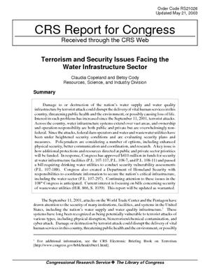 Terrorism and Security Issues Facing the Water Infrastructure Sector