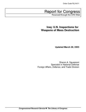 Iraq: U.N. Inspections for Weapons of Mass Destruction