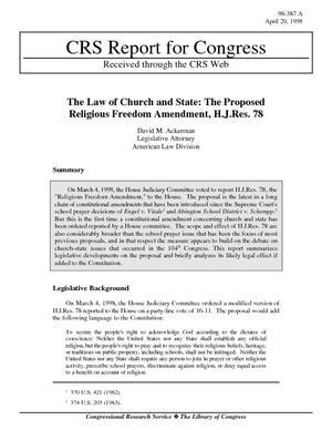 The Law of Church and State: The Proposed Religious Freedom Amendment, H.J. Res. 78