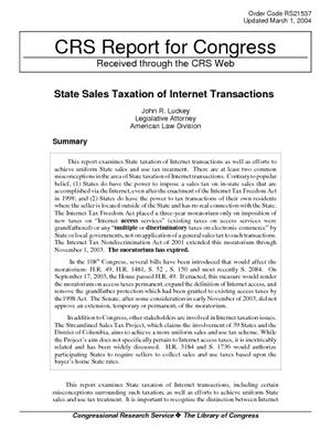 State Sales Taxation of Internet Transactions
