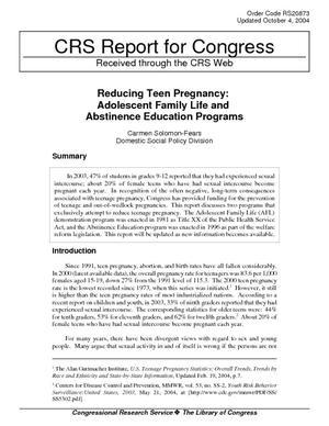 Reducing Teen Pregnancy: Adolescent Family Life and Abstinence Education Programs