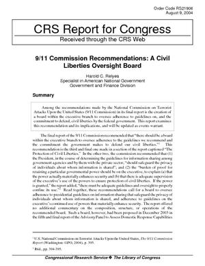 9/11 Commission Recommendations: A Civil Liberties Oversight Board