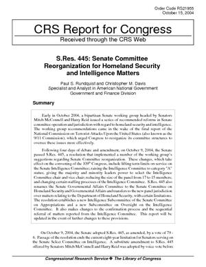 S.Res. 445: Senate Committee Reorganization for Homeland Security and Intelligence Matters