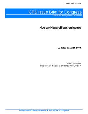 Nuclear Nonproliferation Issues