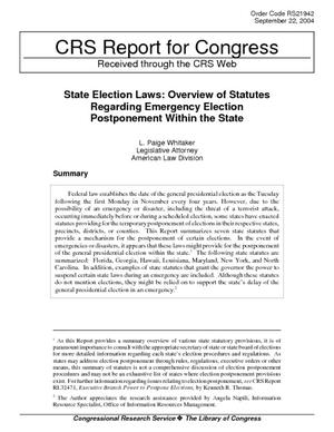 State Election Laws: Overview of Statutes Regarding Emergency Election Postponement Within the State