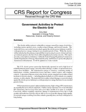 Government Activities to Protect the Electric Grid