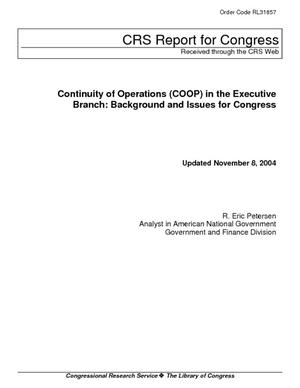 Continuity of Operations (COOP) in the Executive Branch: Background and Issues for Congress