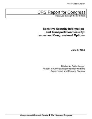 Sensitive Security Information and Transportation Security: Issues and Congressional Options