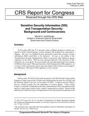 Sensitive Security Information (SSI) and Transportation Security: Background and Controversies