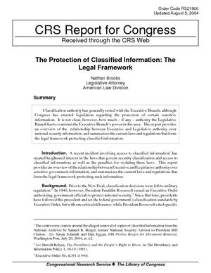 The Protection of Classified Information: The Legal Framework