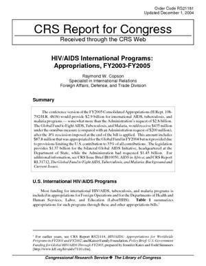 HIV/AIDS International Programs: Appropriations, FY2003-FY2005