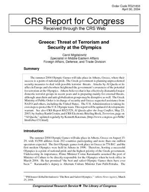 Greece: Threat of Terrorism and Security at the Olympics