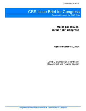 Major Tax Issues in the 108th Congress