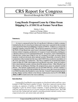 Long Beach: Proposed Lease by China Ocean Shipping Co. (COSCO) at Former Naval Base