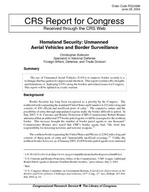 Homeland Security: Unmanned Aerial Vehicles and Border Surveillance