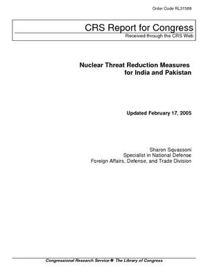 Nuclear Threat Reduction Measures for India and Pakistan