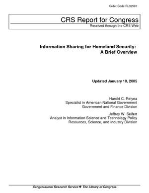 Information Sharing for Homeland Security: A Brief Overview