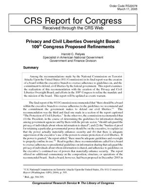 Privacy and Civil Liberties Oversight Board: 109th Congress Proposed Refinements