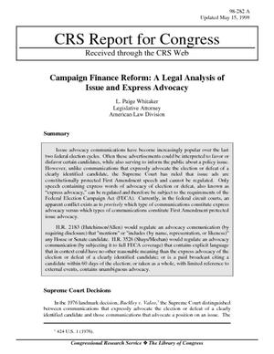 Campaign Finance Reform: A Legal Analysis of Issue and Express Advocacy