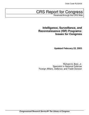 Intelligence, Surveillance, and Reconnaissance (ISR) Programs: Issues for Congress