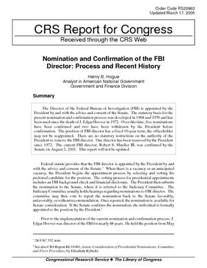 Nomination and Confirmation of the FBI Director: Process and Recent History