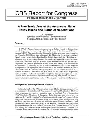 A Free Trade Area of the Americas: Major Policy Issues and Status of Negotiations