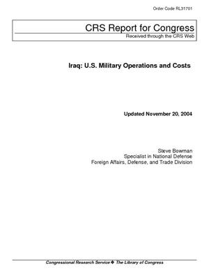 Iraq:  U.S. Military Operations and Costs