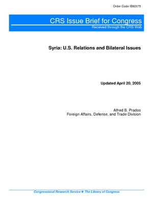 Syria:  Relations and Bilateral Issues