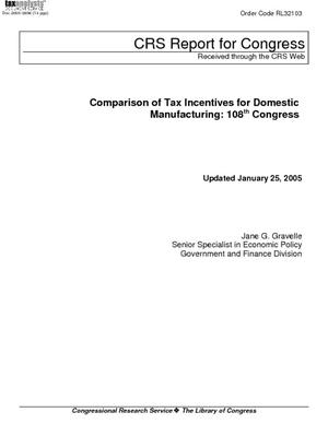 Comparison of Tax Incentives of Domestic Manufacturing:  108th Congress