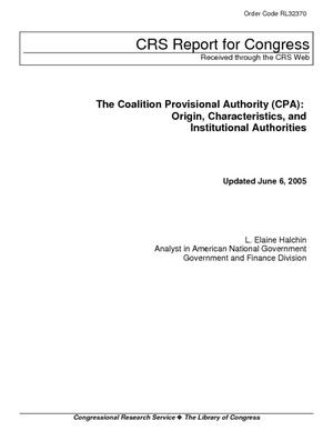 The Coalition Provisional Authority (CPA): Origin, Characteristics, and Institutional Authorities