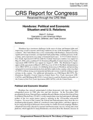 Honduras: Political and Economic Situation and U.S. Relations