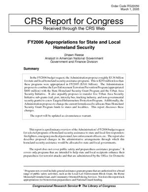 FY2006 Appropriations for State and Local Homeland Security