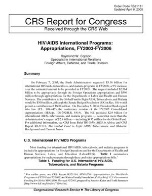 HIV/AIDS International Programs: Appropriations, FY2003-FY2006